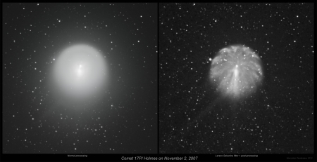 Comet Holmes on Nov 2, 2007 L_S filter_comparison