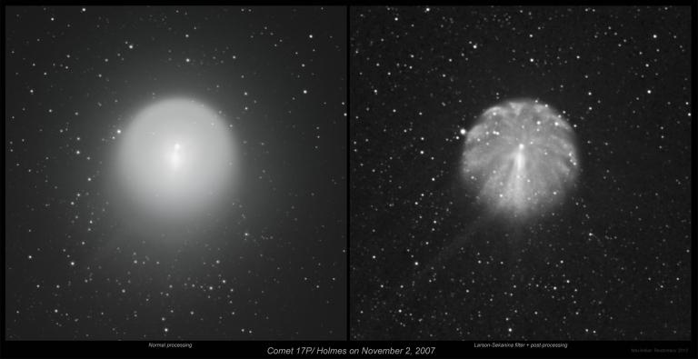 Comet Holmes on Nov 2, 2007 L_S filter_comparison