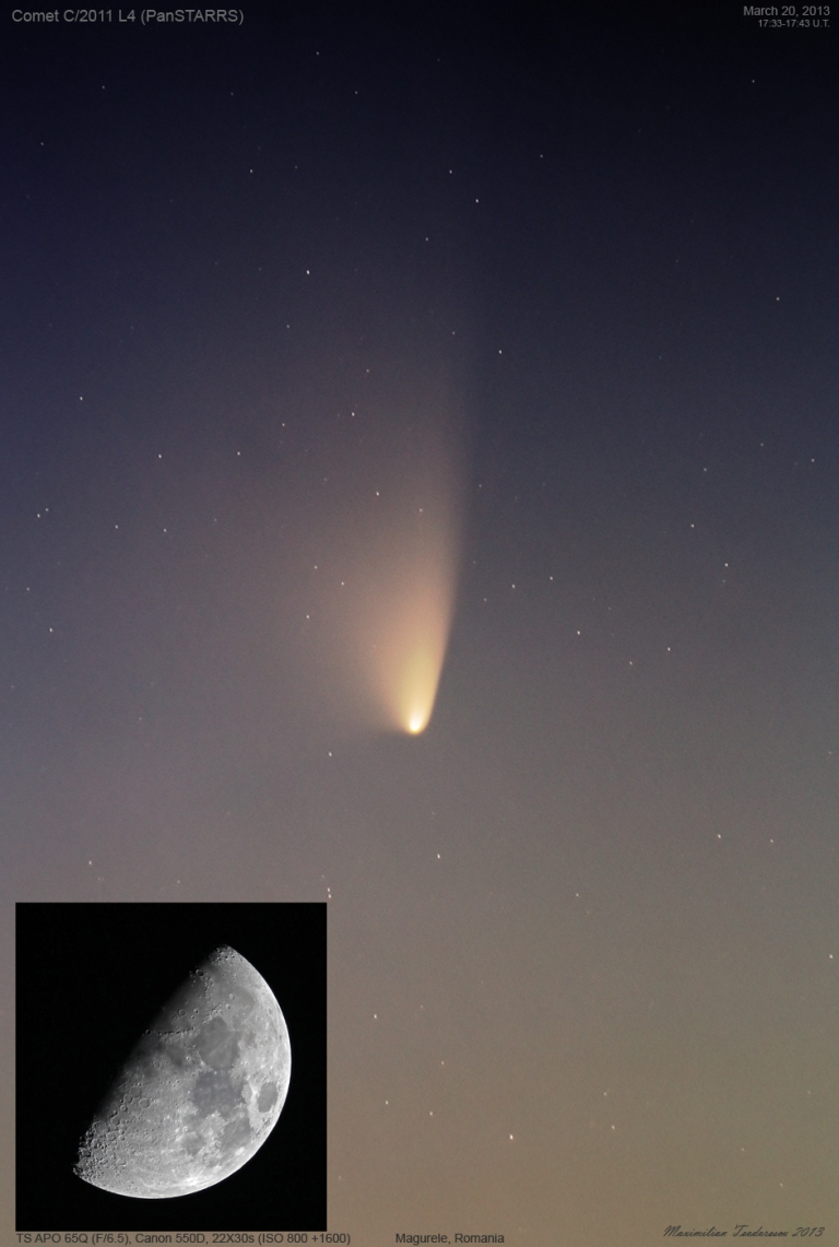 Comet PanSTARRS_March20,2013 and Moon