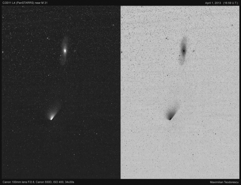 Comet PanSTARRS and M 31 BW