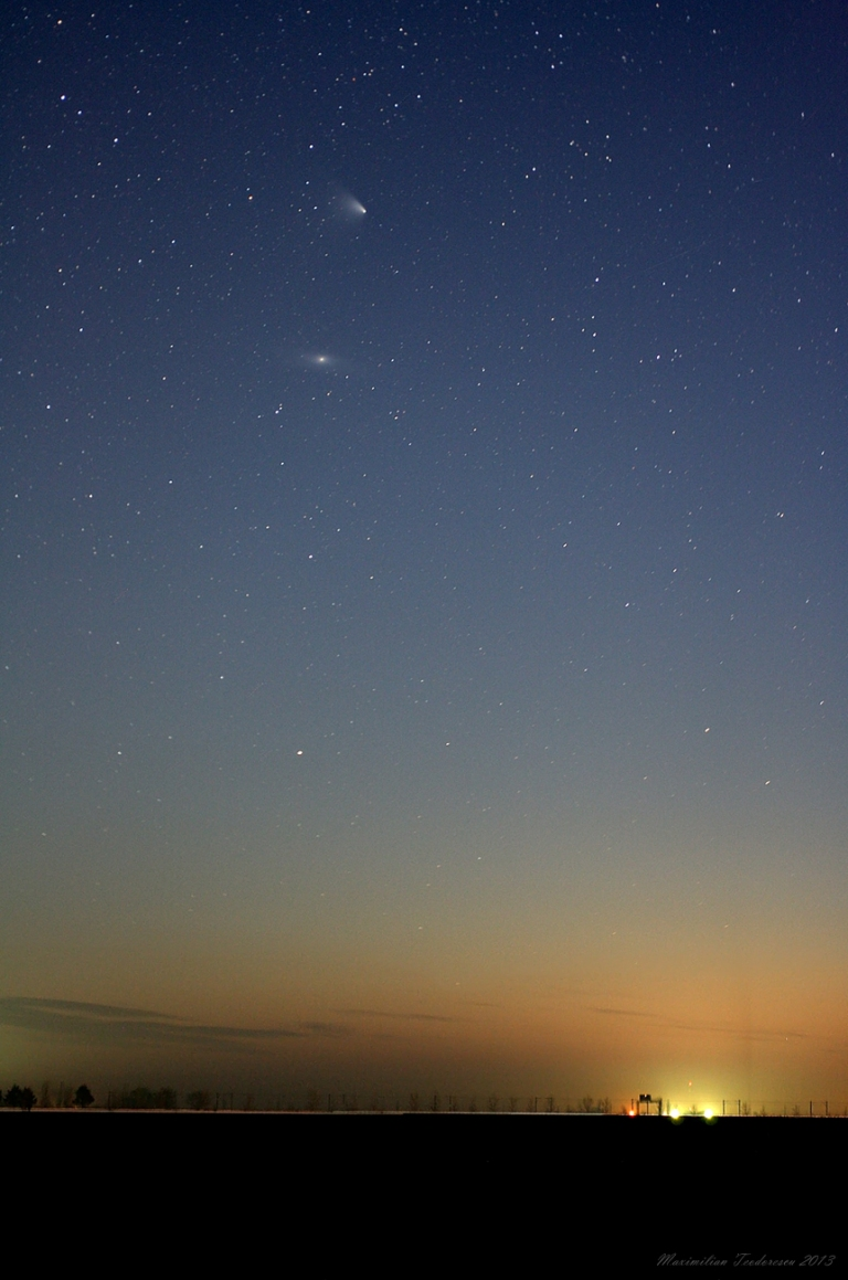 Comet PanSTARRS and M 31 in the morning