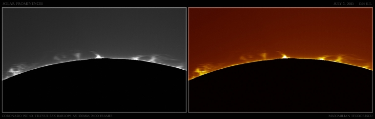 Solar prominences of July 21, 2013